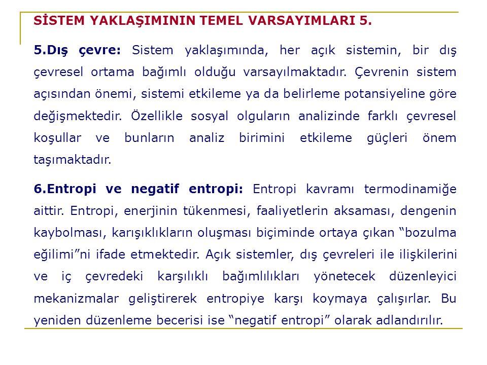 SİSTEM YAKLAŞIMININ TEMEL VARSAYIMLARI 5.