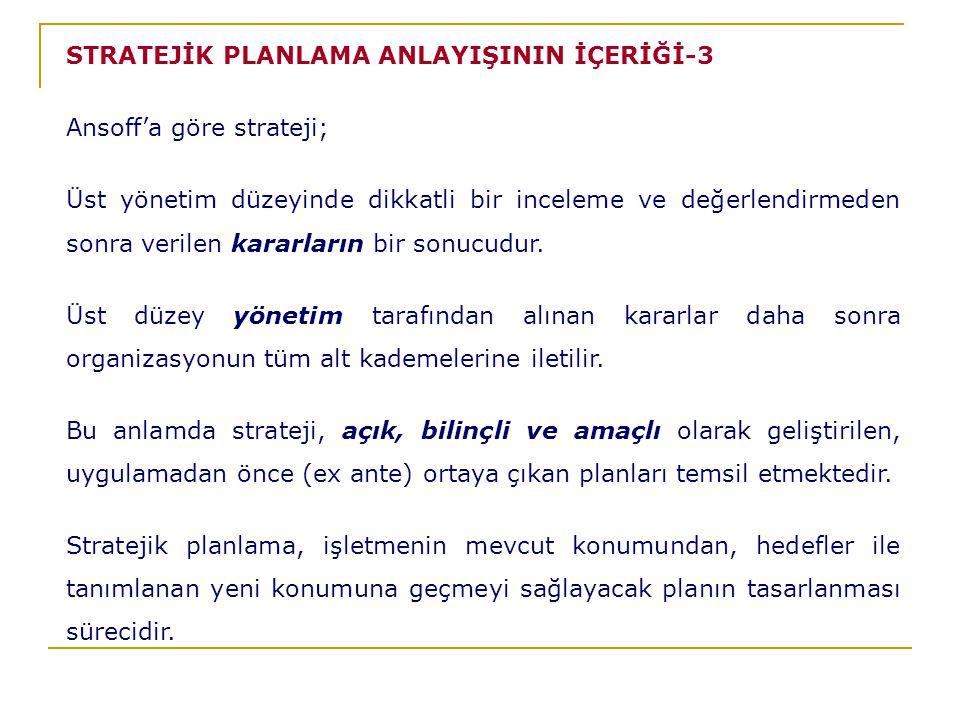 STRATEJİK PLANLAMA ANLAYIŞININ İÇERİĞİ-3