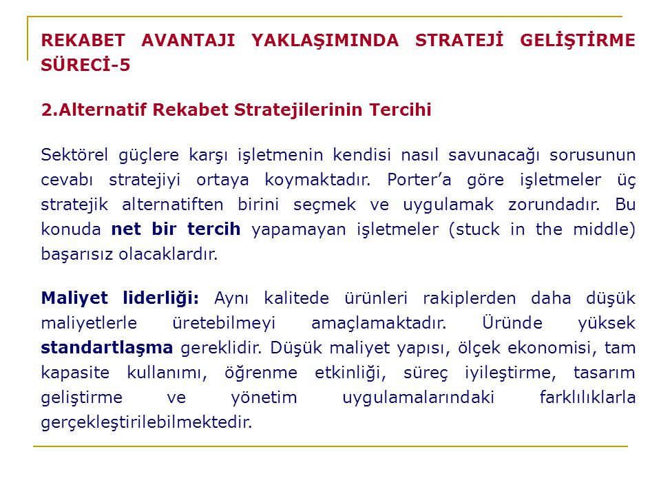 REKABET AVANTAJI YAKLAŞIMINDA STRATEJİ GELİŞTİRME SÜRECİ-5