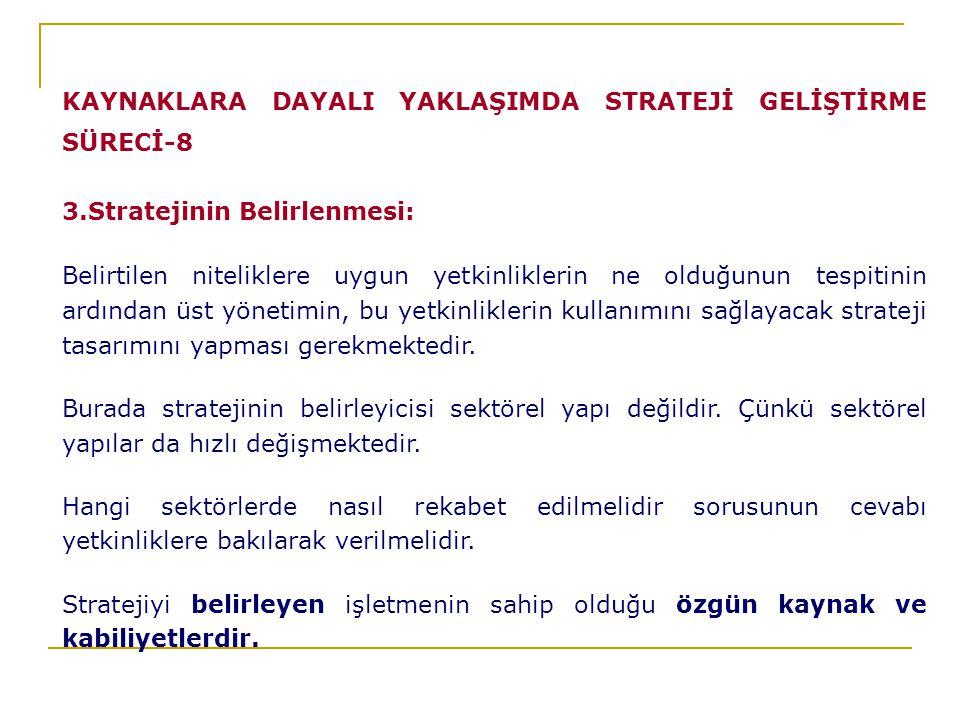 KAYNAKLARA DAYALI YAKLAŞIMDA STRATEJİ GELİŞTİRME SÜRECİ-8