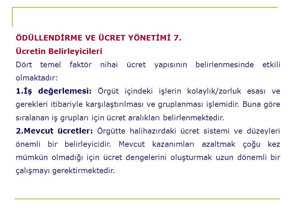 ÖDÜLLENDİRME VE ÜCRET YÖNETİMİ 7.