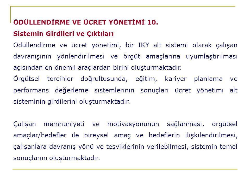 ÖDÜLLENDİRME VE ÜCRET YÖNETİMİ 10.