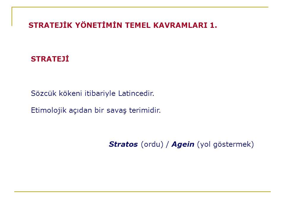 STRATEJİK YÖNETİMİN TEMEL KAVRAMLARI 1.
