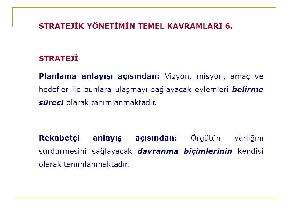 STRATEJİK YÖNETİMİN TEMEL KAVRAMLARI 6.