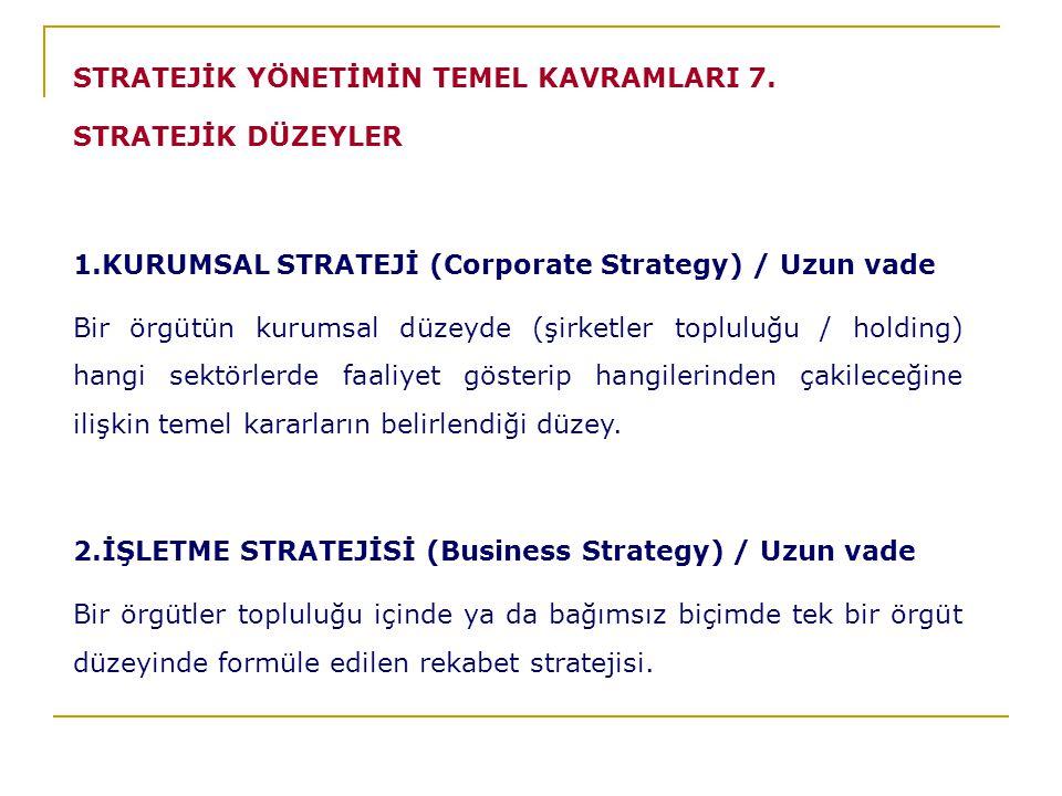 STRATEJİK YÖNETİMİN TEMEL KAVRAMLARI 7.