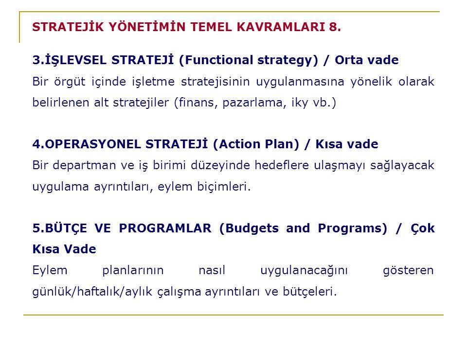 STRATEJİK YÖNETİMİN TEMEL KAVRAMLARI 8.