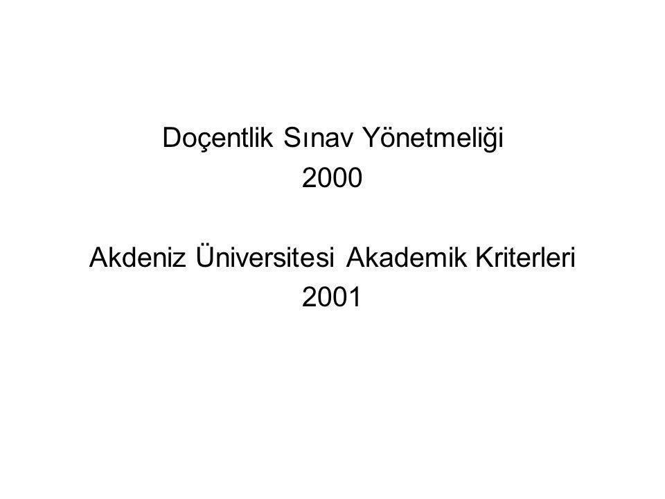 Doçentlik Sınav Yönetmeliği 2000