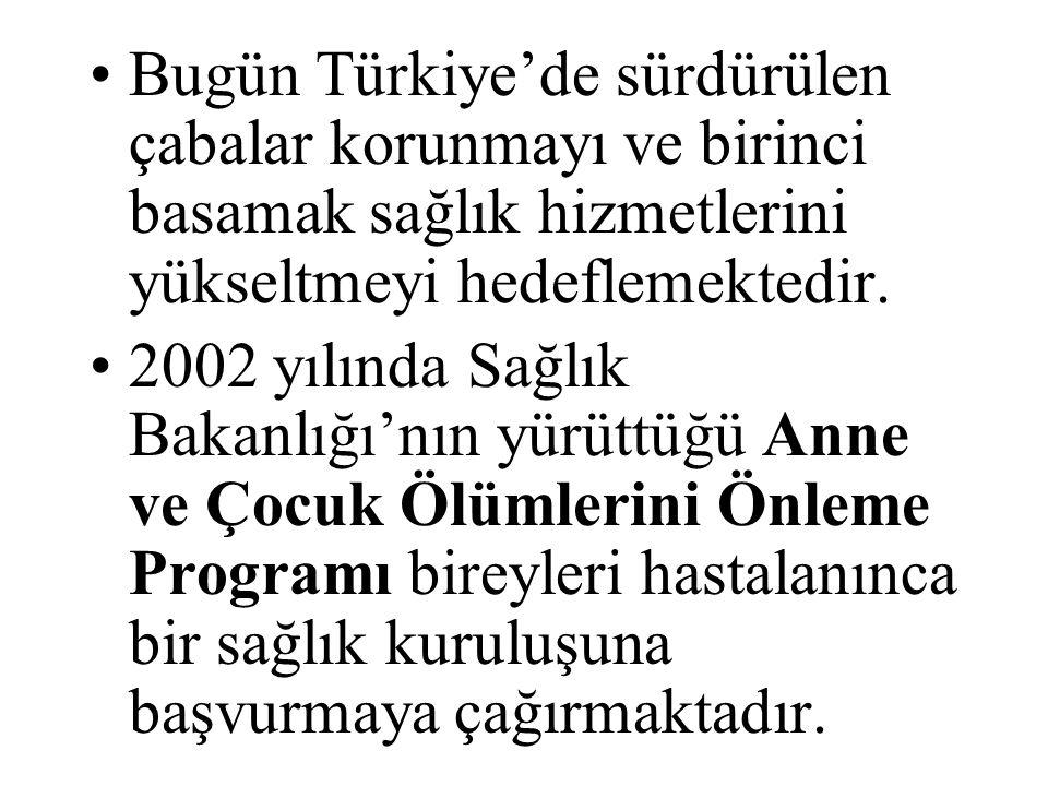 Bugün Türkiye'de sürdürülen çabalar korunmayı ve birinci basamak sağlık hizmetlerini yükseltmeyi hedeflemektedir.