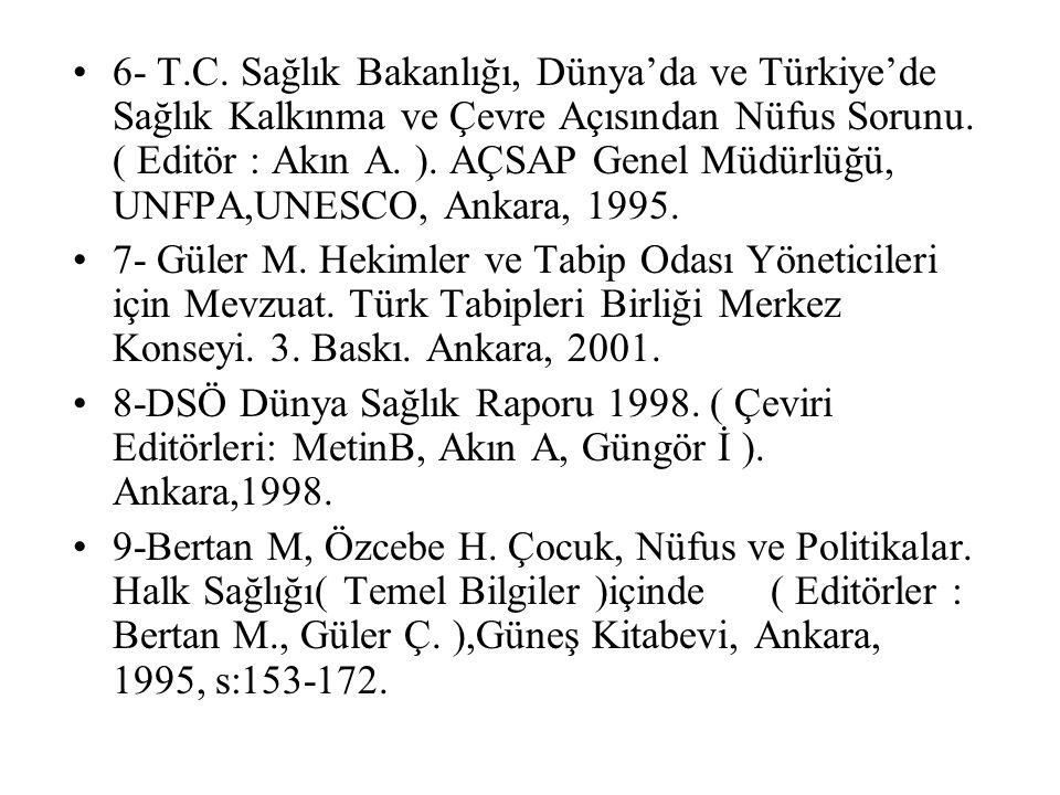 6- T.C. Sağlık Bakanlığı, Dünya'da ve Türkiye'de Sağlık Kalkınma ve Çevre Açısından Nüfus Sorunu. ( Editör : Akın A. ). AÇSAP Genel Müdürlüğü, UNFPA,UNESCO, Ankara, 1995.