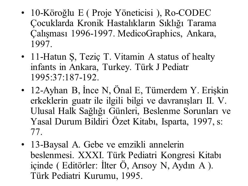 10-Köroğlu E ( Proje Yöneticisi ), Ro-CODEC Çocuklarda Kronik Hastalıkların Sıklığı Tarama Çalışması 1996-1997. MedicoGraphics, Ankara, 1997.