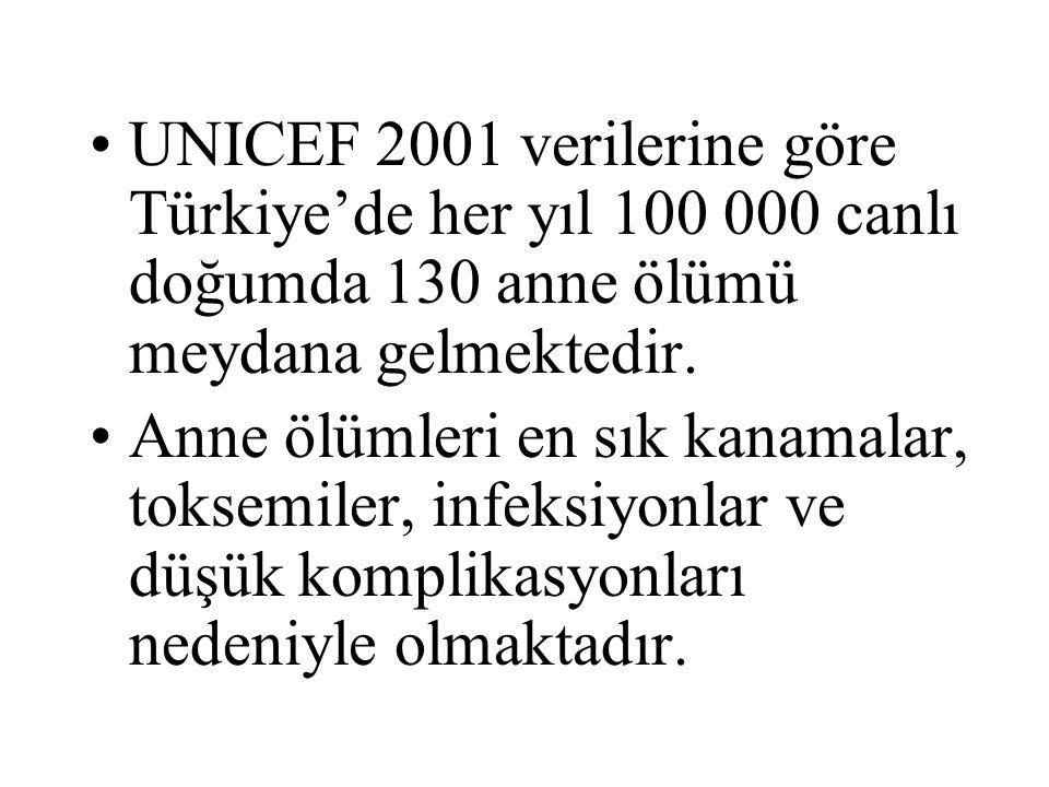 UNICEF 2001 verilerine göre Türkiye'de her yıl 100 000 canlı doğumda 130 anne ölümü meydana gelmektedir.