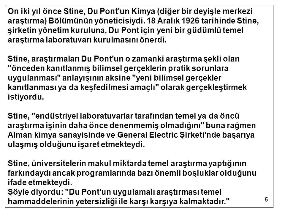 On iki yıl önce Stine, Du Pont un Kimya (diğer bir deyişle merkezi araştırma) Bölümünün yöneticisiydi. 18 Aralık 1926 tarihinde Stine, şirketin yönetim kuruluna, Du Pont için yeni bir güdümlü temel araştırma laboratuvarı kurulmasını önerdi.