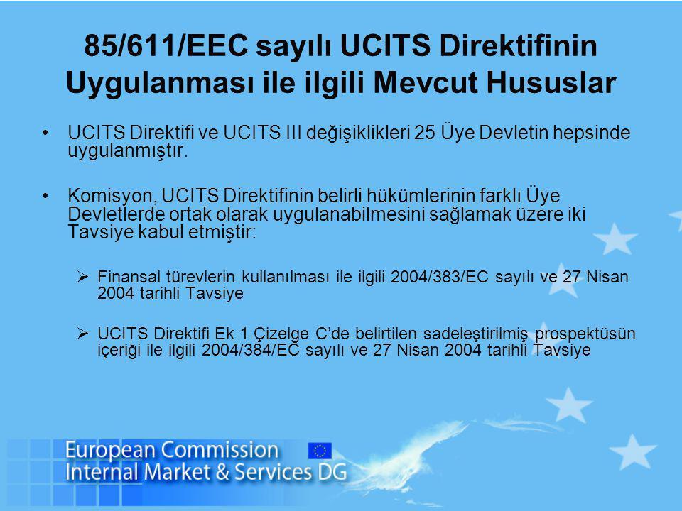85/611/EEC sayılı UCITS Direktifinin Uygulanması ile ilgili Mevcut Hususlar