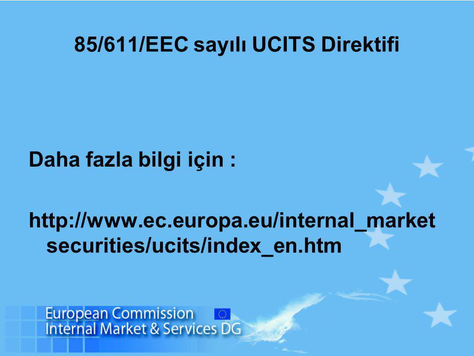 85/611/EEC sayılı UCITS Direktifi