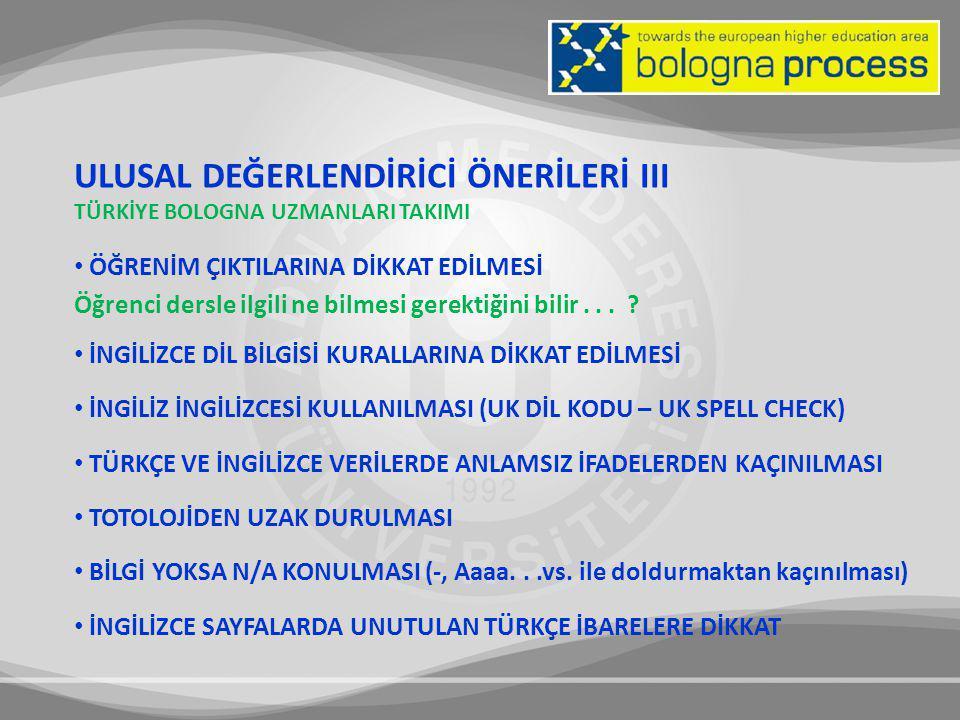 ULUSAL DEĞERLENDİRİCİ ÖNERİLERİ III