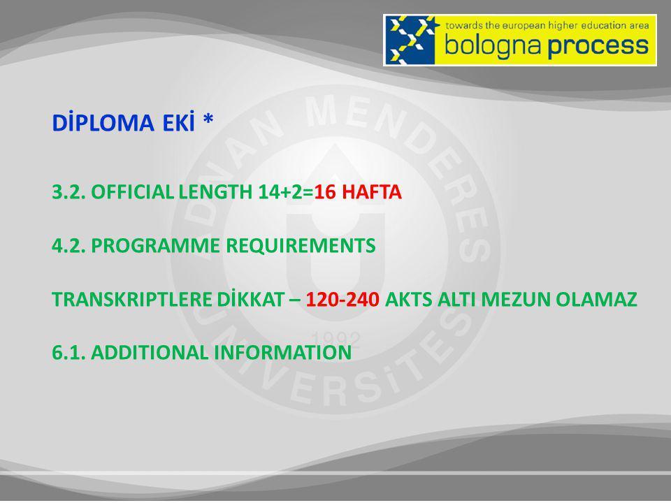 DİPLOMA EKİ * 3.2. OFFICIAL LENGTH 14+2=16 HAFTA