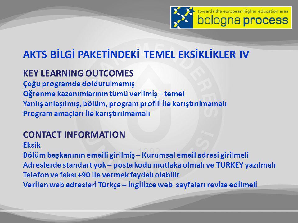 AKTS BİLGİ PAKETİNDEKİ TEMEL EKSİKLİKLER IV