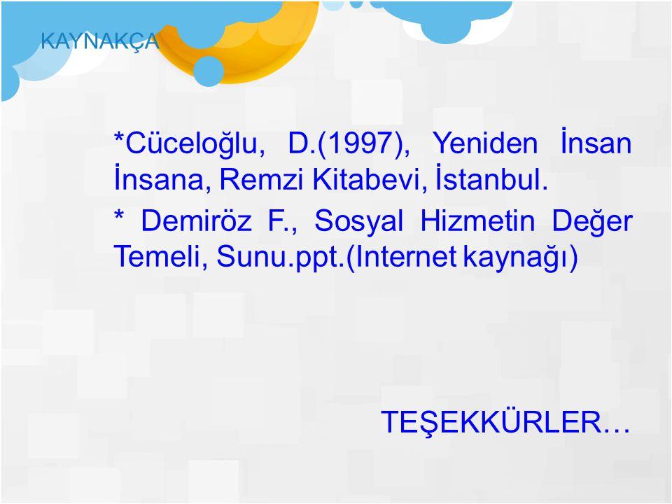 *Cüceloğlu, D.(1997), Yeniden İnsan İnsana, Remzi Kitabevi, İstanbul.