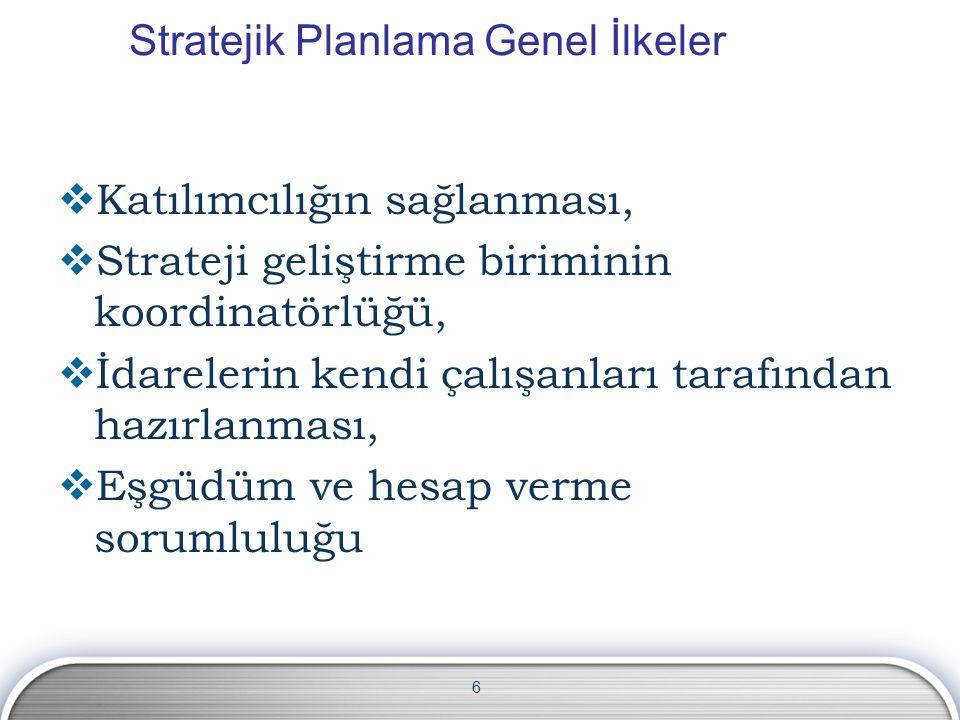 Stratejik Planlama Genel İlkeler