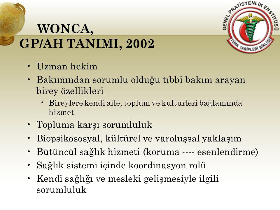 WONCA, GP/AH TANIMI, 2002 Uzman hekim