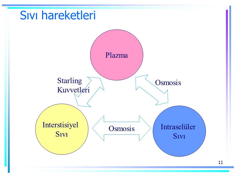 Sıvı hareketleri Plazma Starling Osmosis Kuvvetleri Interstisiyel