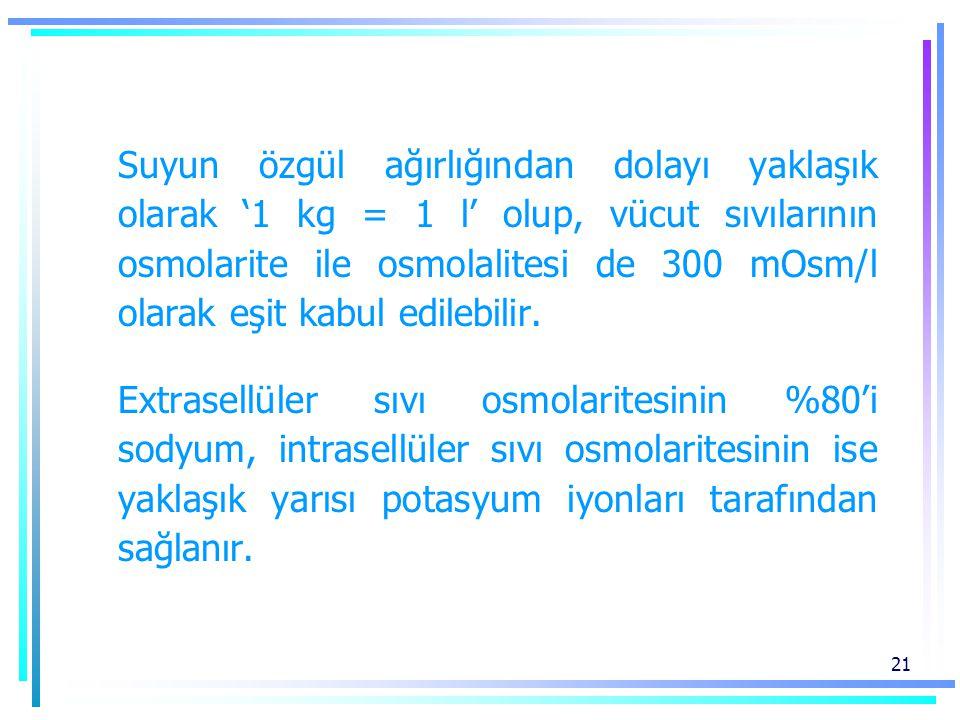 Suyun özgül ağırlığından dolayı yaklaşık olarak '1 kg = 1 l' olup, vücut sıvılarının osmolarite ile osmolalitesi de 300 mOsm/l olarak eşit kabul edilebilir.