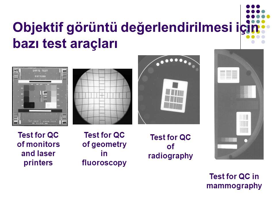 Objektif görüntü değerlendirilmesi için bazı test araçları