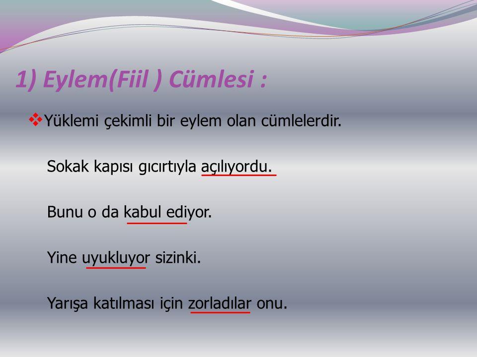 1) Eylem(Fiil ) Cümlesi :