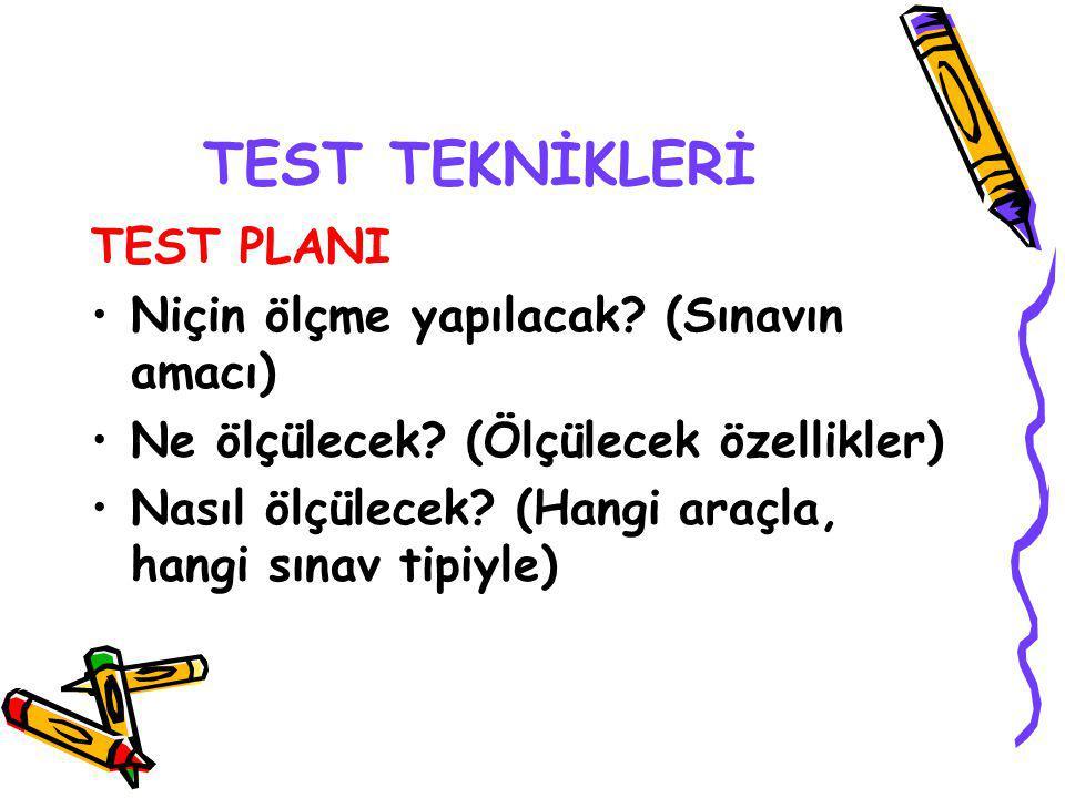 TEST TEKNİKLERİ TEST PLANI Niçin ölçme yapılacak (Sınavın amacı)