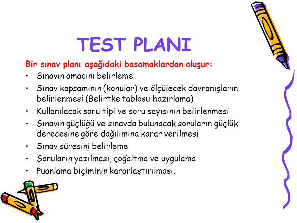 TEST PLANI Bir sınav planı aşağıdaki basamaklardan oluşur: