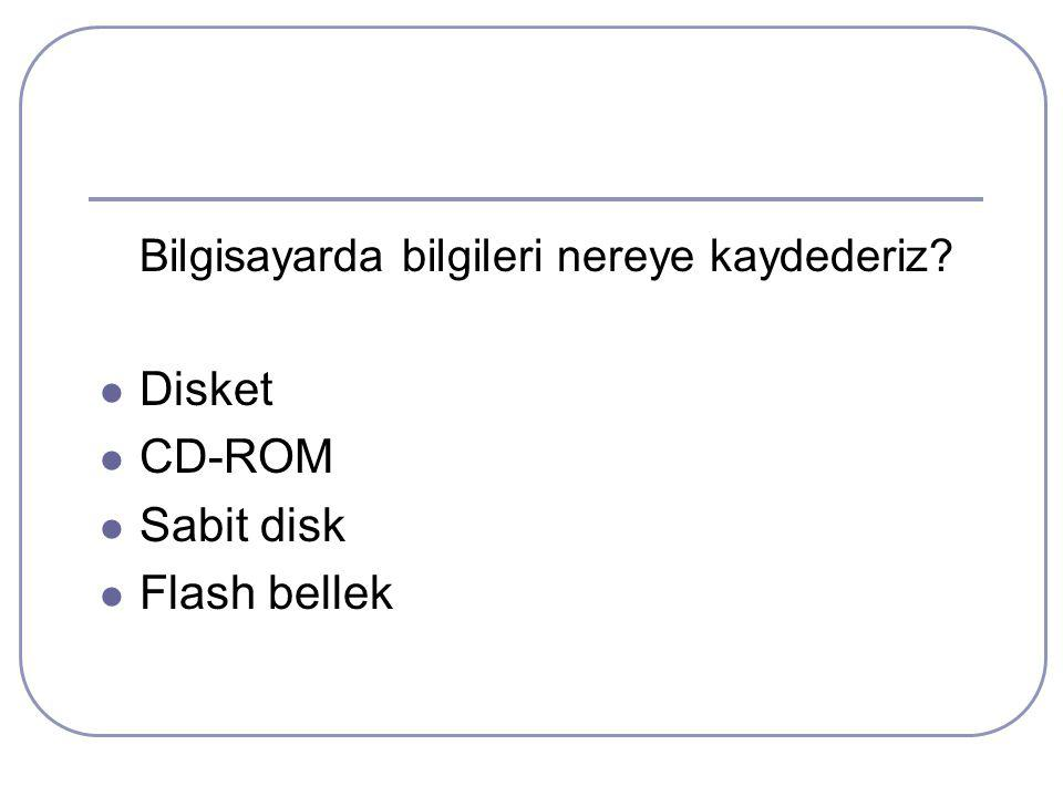Disket CD-ROM Sabit disk Flash bellek