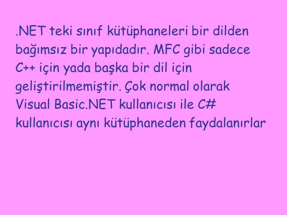 .NET teki sınıf kütüphaneleri bir dilden