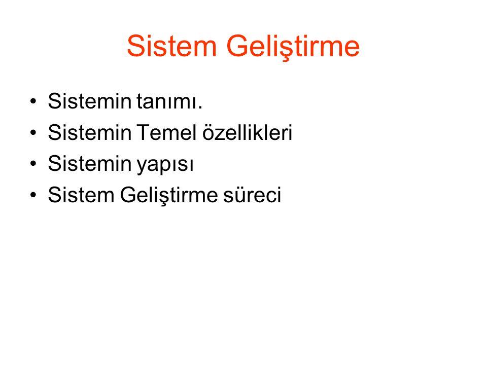 Sistem Geliştirme Sistemin tanımı. Sistemin Temel özellikleri