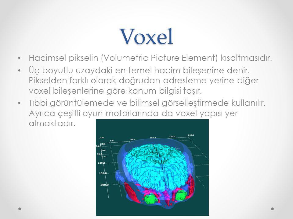 Voxel Hacimsel pikselin (Volumetric Picture Element) kısaltmasıdır.