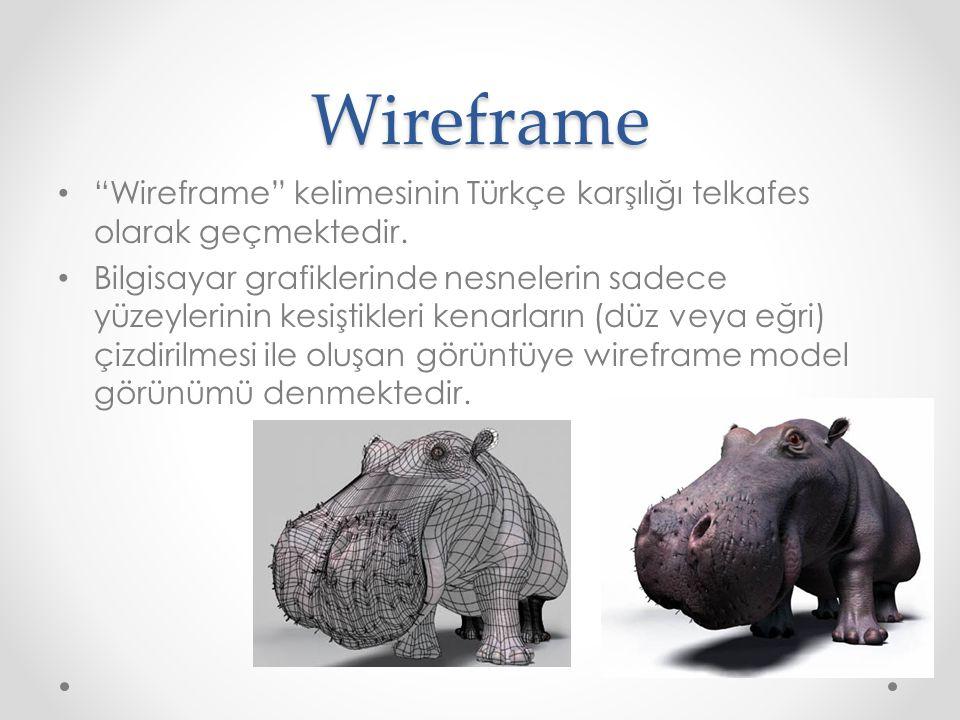 Wireframe Wireframe kelimesinin Türkçe karşılığı telkafes olarak geçmektedir.