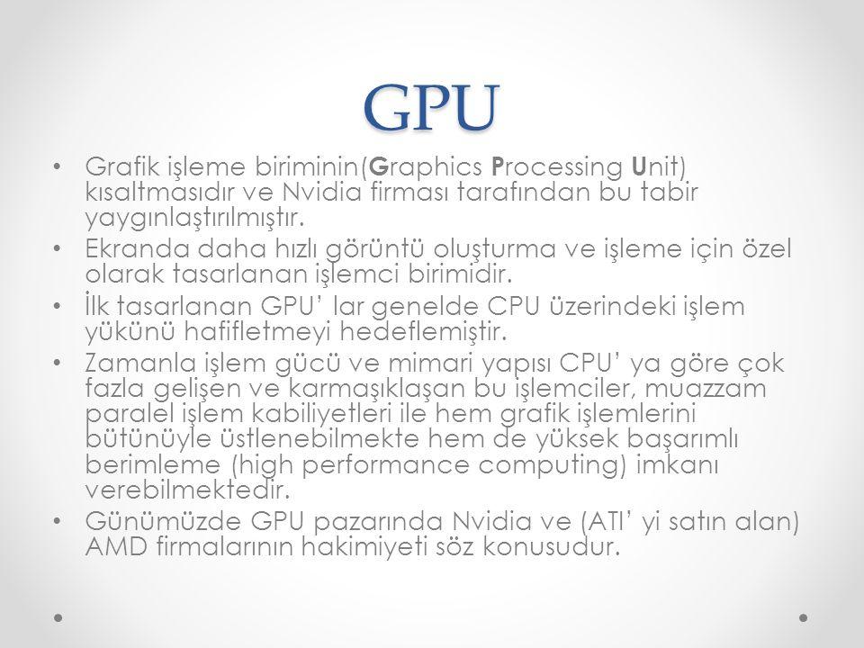 GPU Grafik işleme biriminin(Graphics Processing Unit) kısaltmasıdır ve Nvidia firması tarafından bu tabir yaygınlaştırılmıştır.