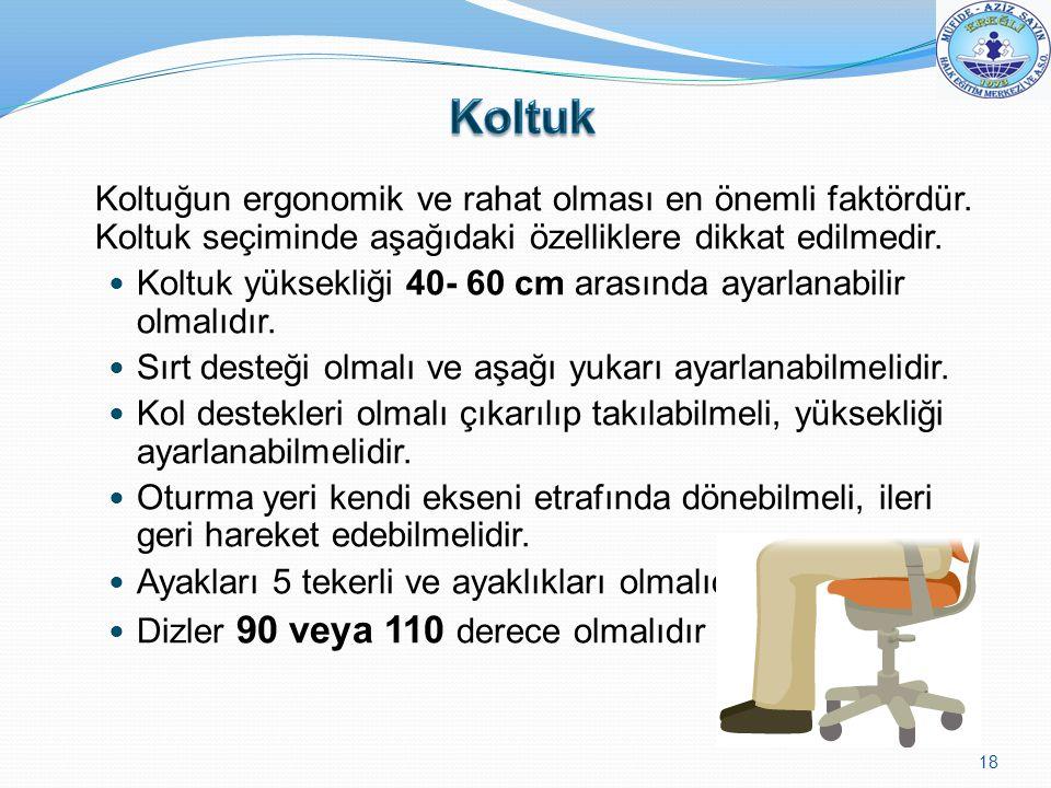 Koltuk Koltuk yüksekliği 40- 60 cm arasında ayarlanabilir olmalıdır.