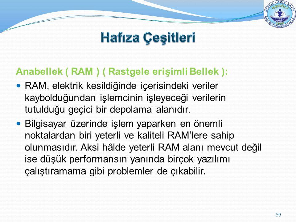 Hafıza Çeşitleri Anabellek ( RAM ) ( Rastgele erişimli Bellek ):