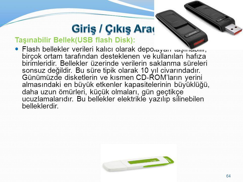 Giriş / Çıkış Araçları Taşınabilir Bellek(USB flash Disk):