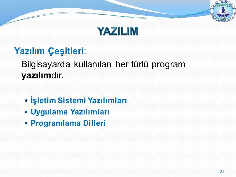 YAZILIM Yazılım Çeşitleri: