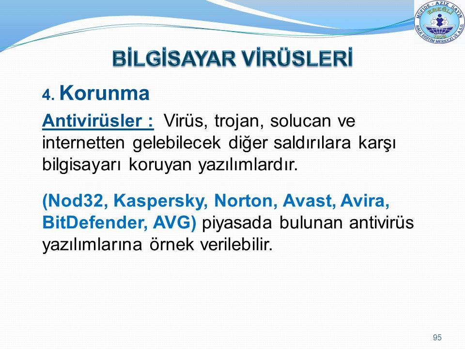 BİLGİSAYAR VİRÜSLERİ 4. Korunma.