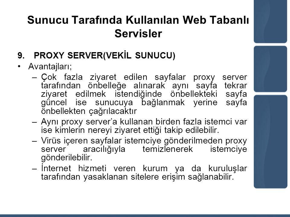 Sunucu Tarafında Kullanılan Web Tabanlı Servisler