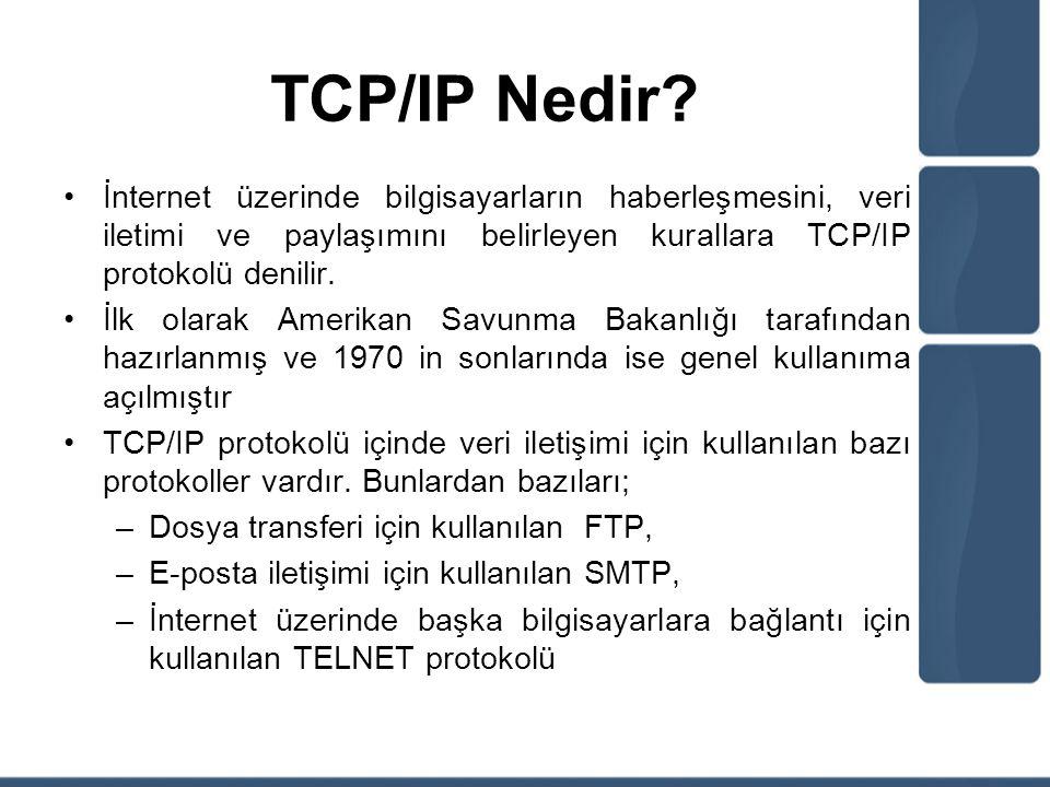 TCP/IP Nedir İnternet üzerinde bilgisayarların haberleşmesini, veri iletimi ve paylaşımını belirleyen kurallara TCP/IP protokolü denilir.