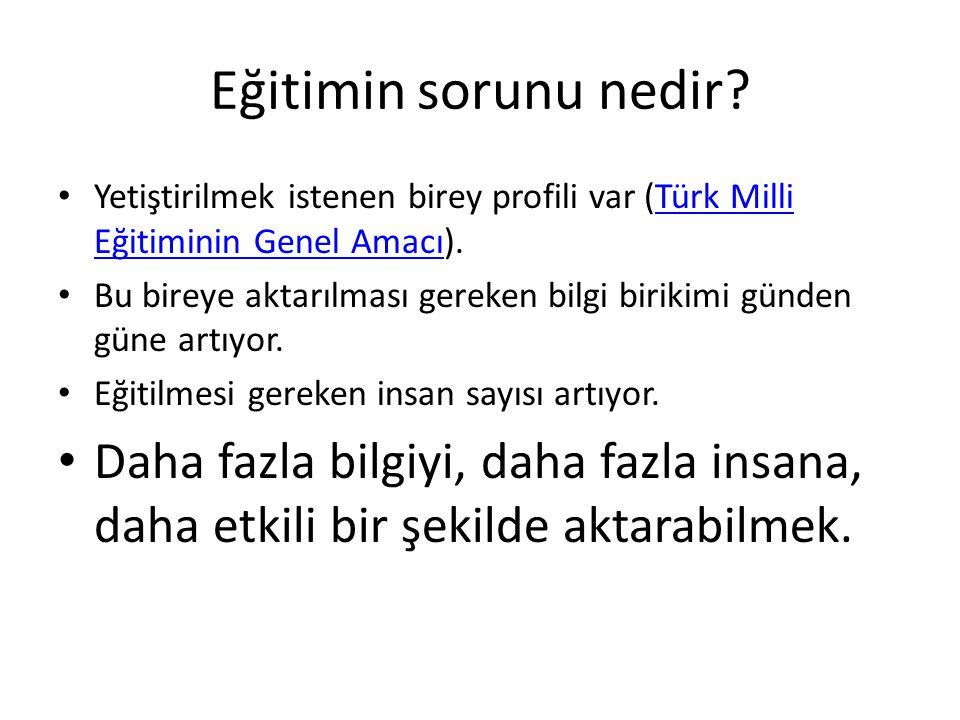 Eğitimin sorunu nedir Yetiştirilmek istenen birey profili var (Türk Milli Eğitiminin Genel Amacı).