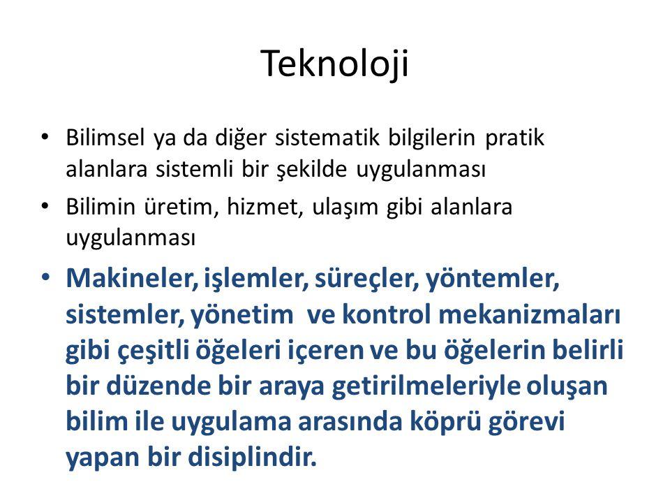 Teknoloji Bilimsel ya da diğer sistematik bilgilerin pratik alanlara sistemli bir şekilde uygulanması.