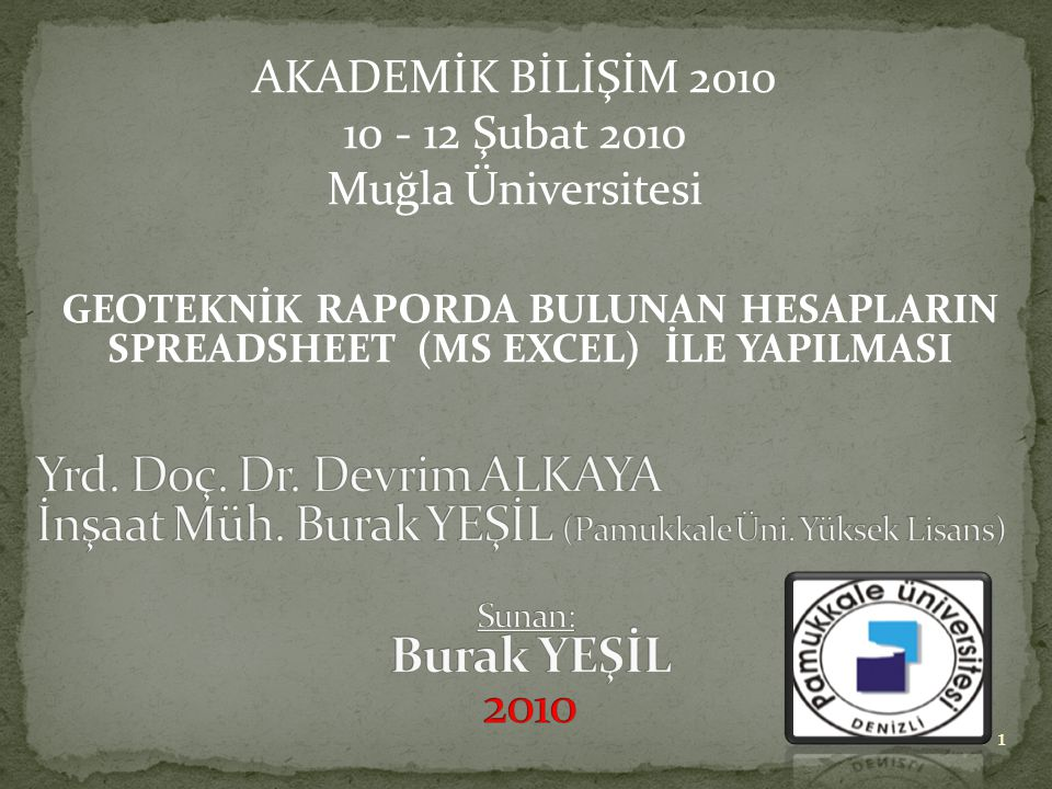 2010 Yrd. Doç. Dr. Devrim ALKAYA