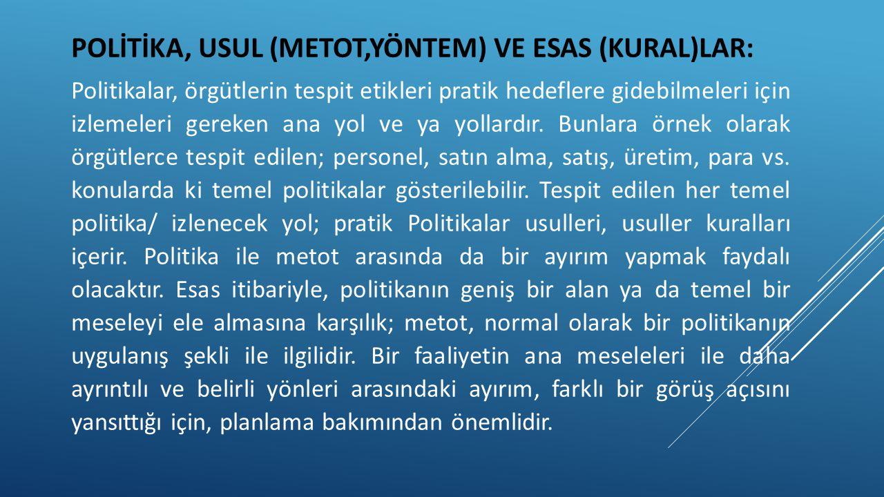 POLİTİKA, USUL (METOT,YÖNTEM) VE ESAS (KURAL)LAR: