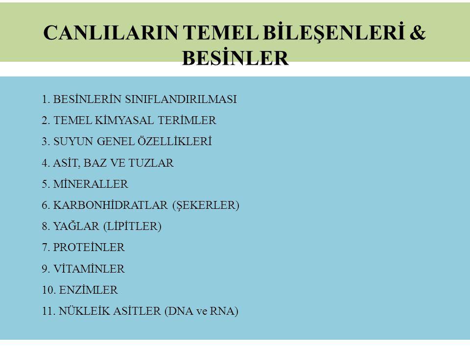 CANLILARIN TEMEL BİLEŞENLERİ & BESİNLER
