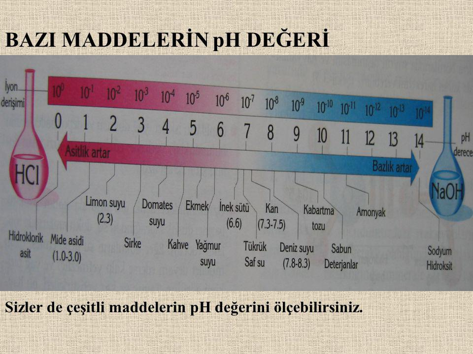 BAZI MADDELERİN pH DEĞERİ