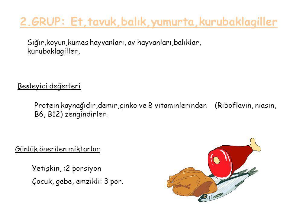 2.GRUP: Et,tavuk,balık,yumurta,kurubaklagiller